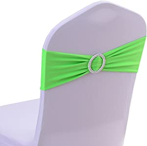 Uniquemystyle Spandex Chair Cover Stretch Band with Buckle Slider Sashes Bow Wedding Banquet Decoration 10PCS (Light Green)
