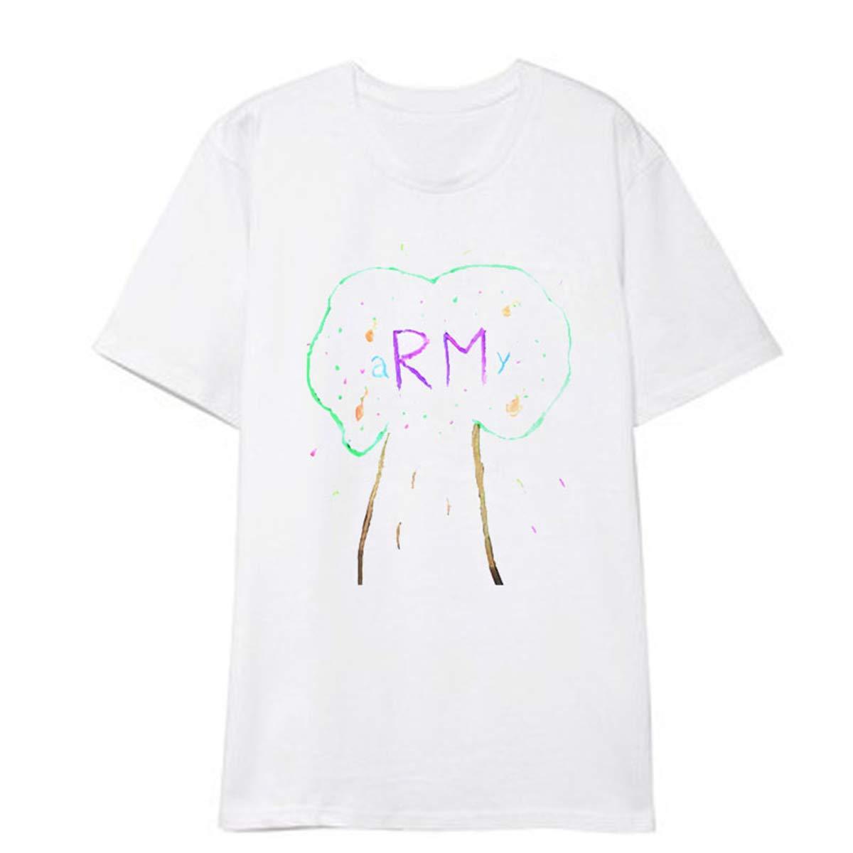 SIMYJOY Unisex BTS Konzert Tour Fan Unterst/ützung Bunte Graffiti T-Shirt Top Mode F/ür Amy Jin Suga J-Hope RM Jimin V Jung Kook