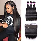 Sterly Brazilian Straight Hair 3 Bundles With Frontal 13x4 Ear To Ear Lace Frontal With Bundles Unprocessed Virgin Human Hair Extensions Natural Color (20 20 20+18)