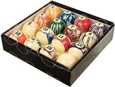 "Spencer Marston Billiards Swirl Pool Balls, Complete 16 Ball Set, Regulation 2.25"""
