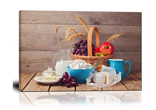 wall26 - Canvas Wall Art - Milk, Cheese and Fruit Basket Over Wooden Background - Oil Painting Style Giclee Print Gallery Wrap Modern Home Decor Ready to Hang - 24