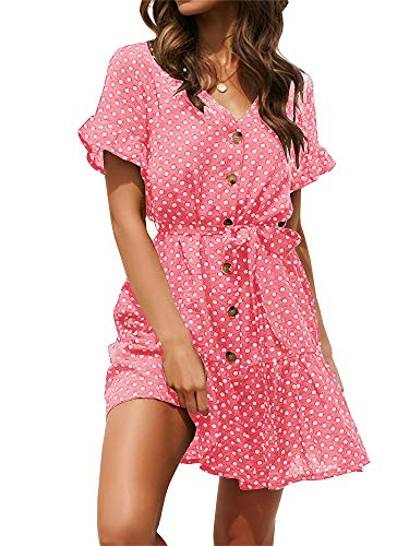 SAIKESIGIRL Womens Polka Dot Button Down Dress Boho Short Sleeve Ruffle Mini Dresses with Belt Pink