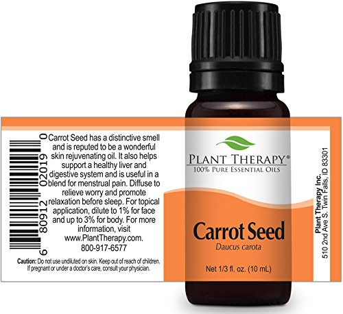 Plant Therapy Carrot Seed Essential Oil. 100% Pure, Undiluted, Therapeutic Grade. 10 ml (1/3 oz).