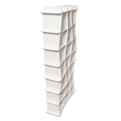 Tall Modern Wave White Storage Cube Bookcase Folding American Made