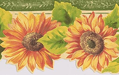 Yellow Red Flowers Floral Wallpaper Border Retro Design, Roll 15' x 5.25''