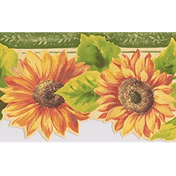 Yellow Red Flowers Floral Wallpaper Border Retro Design Roll 15 X 525