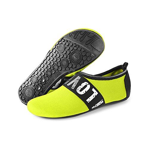JIASUQI Damen und Herren Sommer Outdoor Wasserschuhe Aqua Socken für Beach Swim Surf Yoga Übung Silber / Grün