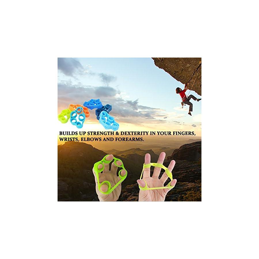 Pnrskter Hand Grip Strengthener, Finger Exerciser, Grip Strength Trainer (6 PCS) MATERIALForearm Grip Workout, Finger Stretcher, Relieve Wrist Pain, Carpal Tunnel, Trigger Finger.