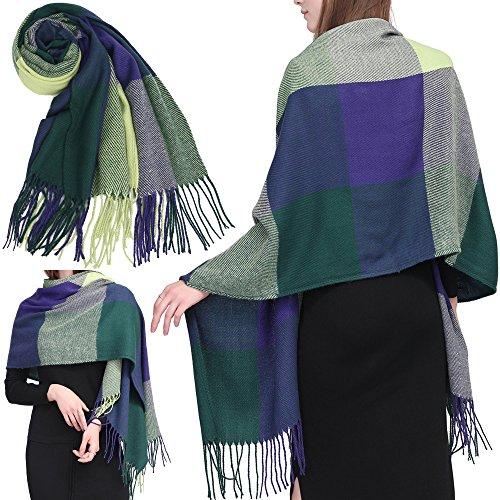 Long Soft Knit (GoProver Women's Tassels Soft Plaid Tartan Lattice Scarf Winter Large Long Blanket Wrap Shawl Oversized)