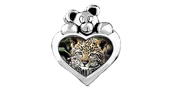 GiftJewelryShop Running Wolf Red Siam Crystal January Birthstone I Love You Heart Care Bear Charm Beads Bracelets