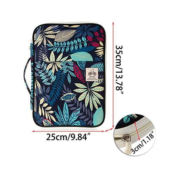 BTSKY-New-Multi-Functional-A4-Document-Bags-Portfolio-Organizer-Waterproof-Travel-Pouch-Zippered-Case-for-Ipads-Notebooks-Pens-Documents-Dark-Blue