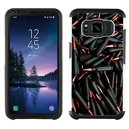 tive case - [Bullets Stash] (Silver) PaletteShield dual-layer hybrid rugged armor skin phone cover (fit Samsung Galaxy S8 Active) (Case Silver Bullet)