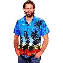 Funky Hawaiian Shirt For Men Short Sleeve Front-Pocket Beach Sun Blue