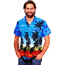 V.H.O Funky Hawaiian Shirt Men Shortsleeve Frontpocket Hawaiian-Print Beach Party Flowers Palms