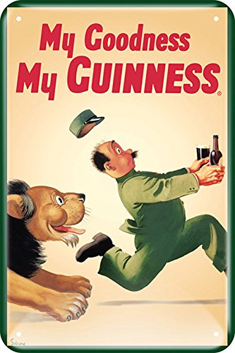 - Guinness Lion / Zookeeper Embossed Metal Sign 12
