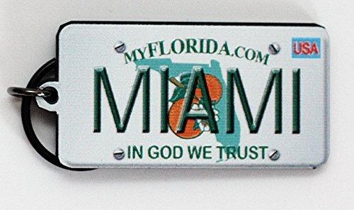Miami Florida License Plate Acrylic Keychain 2.5 x 1.5 Souvenir Destiny miamilicensekeychain