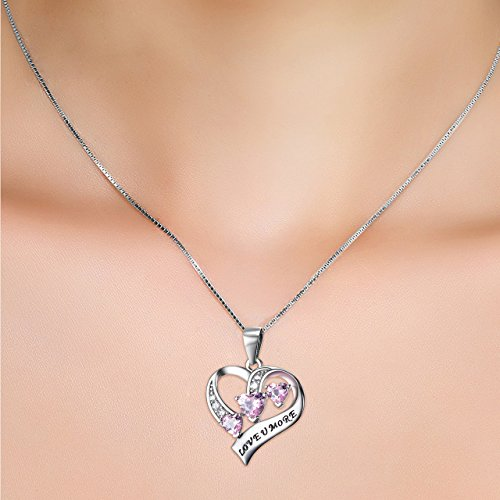 YFN Engraved Love You More Sterling Silver Pink Jewelry Crystal Eternity Heart Necklace (Pink Heart) by YFN (Image #3)'