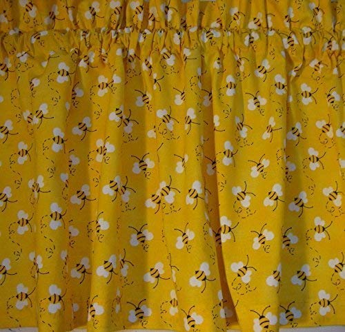 Valance Bumble Bee on Yellow Background Custom Made Window Treatment Topper