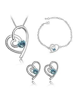 Gespout Collier Cristal Bleu Bijoux Ensemble Cadeau d'anniversaire Alliage Le Style Particulier Collier Pendentif Boucles d'oreilles Bracelet