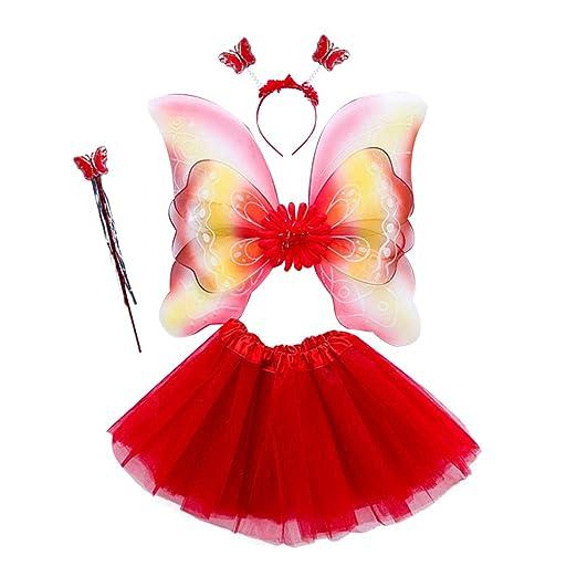 Vivitoch - Disfraz de hada para niñas (4 unidades, 3 capas, tutú ...