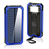 Solar Charger 15000mAh,BESWILL Portable Dual USB Solar Battery Charger External Battery Pack Phone Charger Power Bank with Flashlight for Smartphones Tablet Camera (Blue)