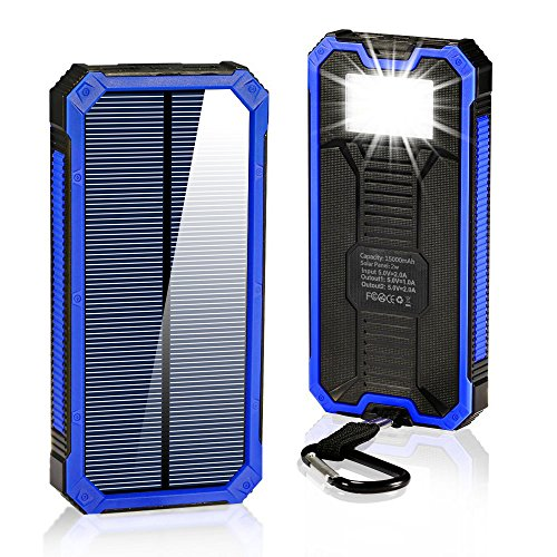 Solar Charger 15000mAh,BESWILL Portable Dual USB Solar Battery Charger External Battery Pack Phone Charger Power Bank with Flashlight for Smartphones Tablet Camera (Blue) (Charger Wind Phone)