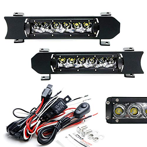 iJDMTOY Front Grill LED Light Bar Kit For 17-up Ford F250 F350 Lariat King Ranch, Includes (2) 15W Single-Row CREE LED Light Bars, Front Grille Mounting Bezels/Brackets & On/Off Switch ()