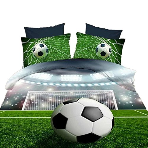 (Ammybeddings 4 PCs 3D Boys Football Comforter Cover Set Queen Size Soccer Ball Duvet Cover Sets 4 Pillowcases 1 Flat Sheet 1 Duvet Cover 100% Polyester Bedding(No Comforter No Fitted Sheet))