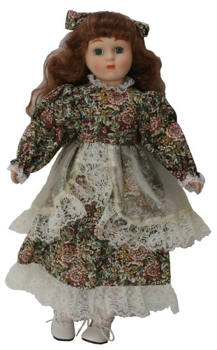Porcelain Girl Doll - Porcelain Standing Doll 16 Inches, Adorable Girl with Blue Eyes, Blonde Curled Hair, and Hair Bow Matching Flower Print Cotton Dress.