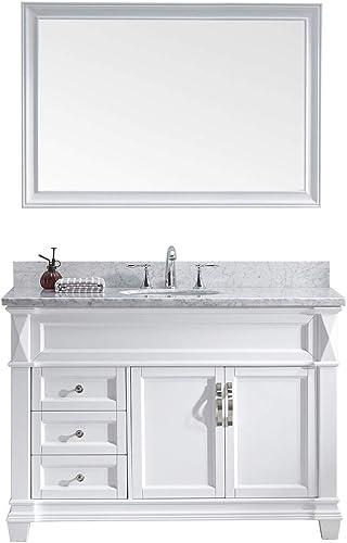 Virtu USA MS-2648-WMRO-WH-001 Victoria 48″ Single Bathroom Vanity Set