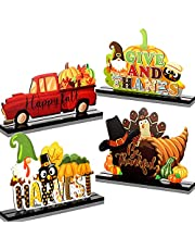 Blulu 4 Pieces Happy Fall Wood Table Signs Set Pumpkin Turkey Table Centerpieces Rustic Farmhouse Gnomes Table Decors Thanksgiving Wooden Table Ornaments for Autumn Thanksgiving Party Home Decors
