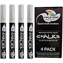 Chalk Genie Brilliant White Liquid Chalk Markers - 4mm Regular Bullet Point Tip - Pack of 4 - Premium Quality Chalk Marker Pens - For NON-POROUS Surfaces