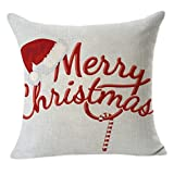 Christmas Pillow Case,Beautyvan Comfortable Christmas Linen Square Throw Flax Pillow Case Decorative Cushion Pillow Cover (A)