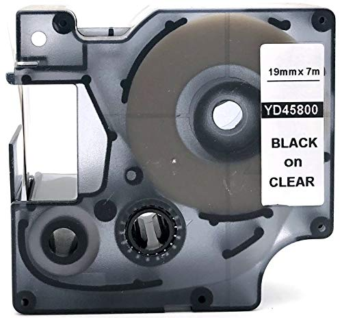 Black on Clear Label Tape Compatible for DYMO D1 45800 S0720820 3/4