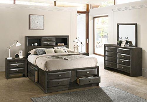Leslie Bookcase Headboard Platform Queen Bed Set: Dresser, Mirror, 2 Night Stands