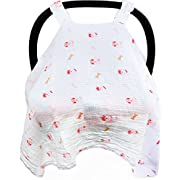 Baby Car Seat Covers To Protect From Sun, Bugs & Dust. XL Soft Muslin Cotton Canopy Pink For Girls. Perfect For Summer Time For Baby Girl. Fits Most Car Seats.