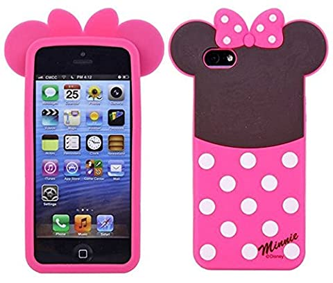 iPhone 5 Polka Dots Minnie Mouse Silicone Case,iPhone 5S 3D Cartoon Cases,WGOOD Cute Lovely Animal Soft Gel Rubber Silicone Protection Skin Case Cover for Apple iPhone 5 (Rubber Iphone 5s Cases Disney)