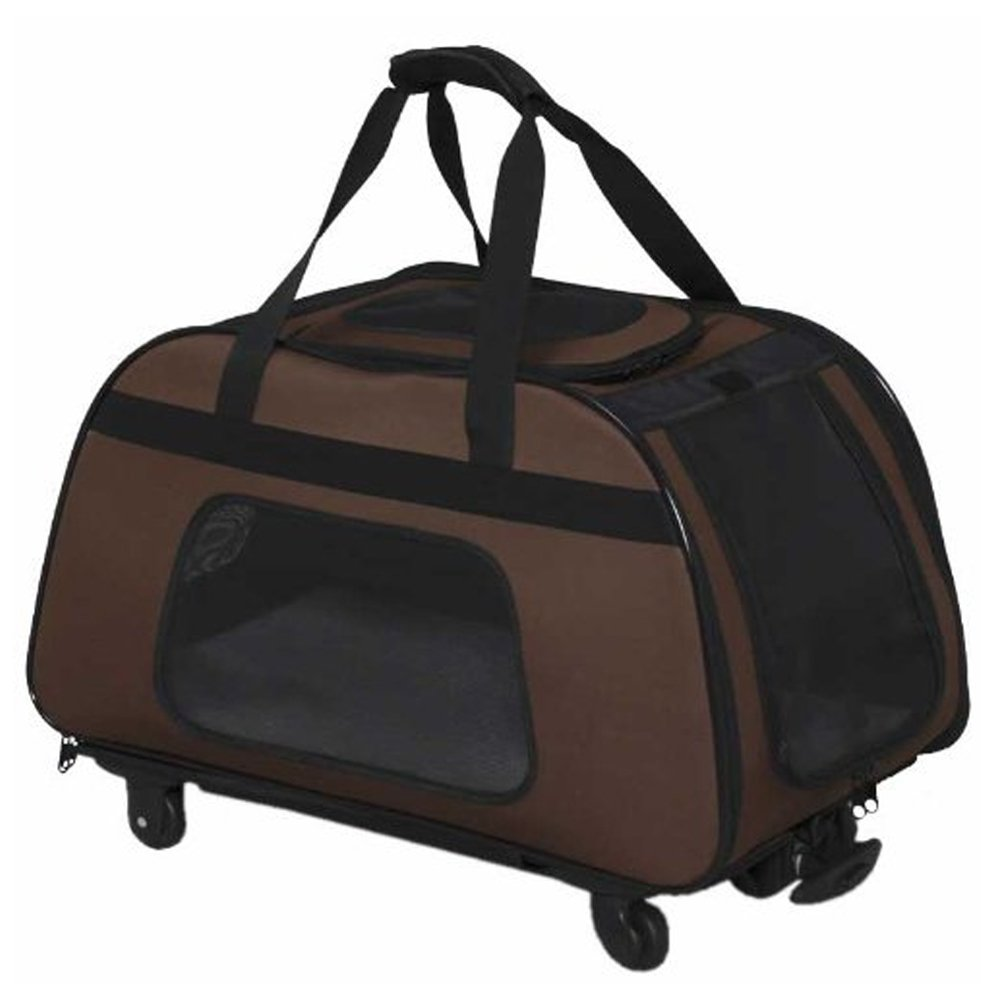 IRIS Pet Carrying Duffle Bag Cart With Wheels, Brown/Black