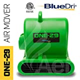 BlueDri One-29 1/3 HP 2.9 AMPS Portable Fully Stackable GFCI 4 Unit Daisy Chain Capability Air Mover Carpet Dryer with 25 Feet Cord Green