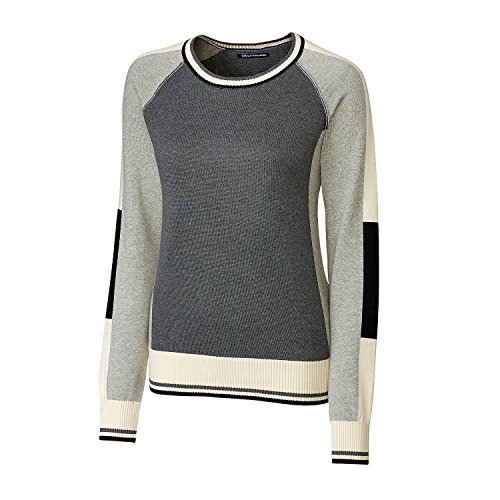 Cutter & Buck Women's Soft Jersey Cotton Ragan Sleeve Stride Colorblock Sweater, Charcoal Heather, Large