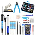 Toolour 60w Adjustable Temperature Soldering Iron with ON/OFF Switch, Digital Multimeter or Hot Glue Gun, 5 Soldering Iron Tips, Solder Wire, Desoldering Pump, Stand, Carry Bag