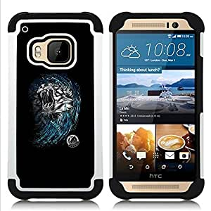 """HTC One M9 /M9s / One Hima - 3 en 1 impreso colorido de Altas Prestaciones PC Funda chaqueta Negro cubierta gel silicona suave (Tiger Head"""")"""