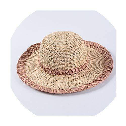 Women Raffia Sun Hats Hand-Crocheted Striped Straw Hats Casual Summer Large Brim Beach hat,Lavender,56-58cm