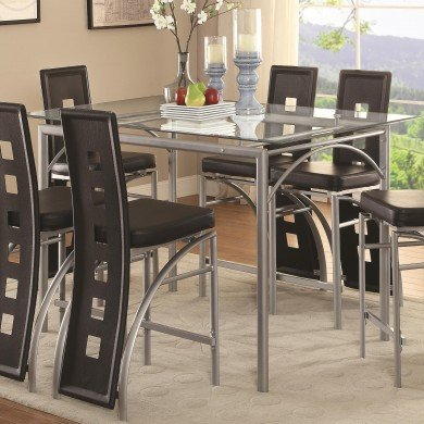 (Coaster 101688-CO Glass Top Counter Height Dining Table, In Chrome)