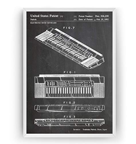 Keyboard 1992 Patent Print – Piano Music Room Poster Giclee Art Wall Decor Vintage Blueprint Gift – Frame Not Included