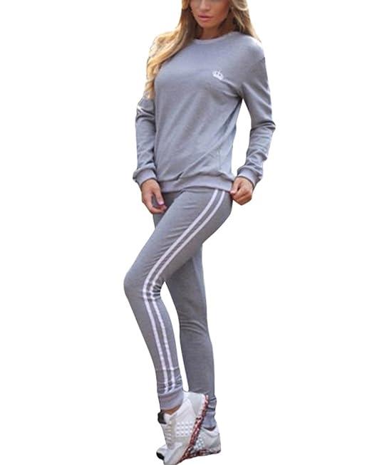 f7037f2c7f Tomwell Mujer Chándales 2 Piezas Set Deportes Gimnasio Entrenamiento de Yoga  Manga Larga Sweatshirt + Pantalones Fitness Elástico Leggings  Amazon.es   Ropa ...