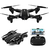 Fineser Q39W Mini Foldable RC Quadcopter Drone with 720P HD Camera RTF 4 Channel 2.4GHz 6-Gyro with Headless Mode , Foldable Arms , Height Hold Function and One Taking Off/Landing
