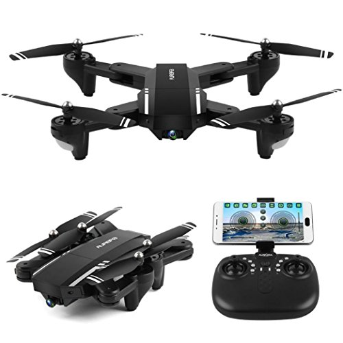 Fineser Q39W Mini Foldable RC Quadcopter Drone with 720P HD Camera RTF 4 Channel 2.4GHz 6-Gyro with Headless Mode , Foldable Arms , Height Hold Function and One Taking Off/Landing by Fineser