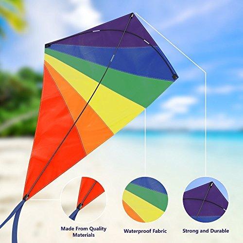 Diamante cometa 119.4cm, fácil Flyer Rainbow cometas para niños y adultos, mejor para playa y diversión de verano,...
