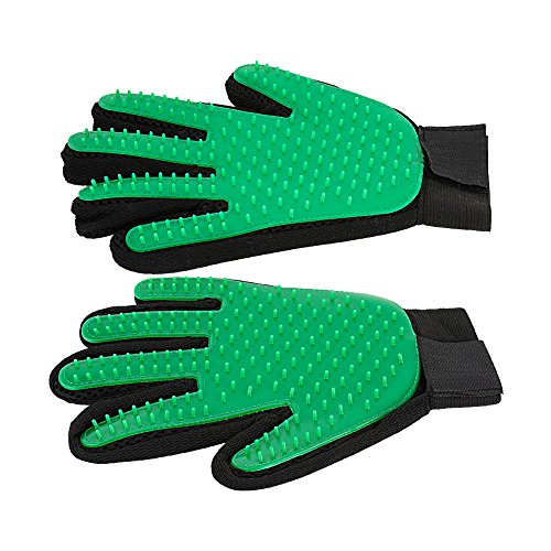 Pet Grooming Glove Dog hair Remover Gentle Petting Glove Brush Massage Tools With Enhanced Bathing Glove For Cats Dogs Long & Short Fur One Pair (Green)